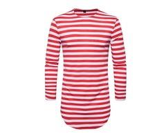 Tidebuy Vertical Striped Long Sleeve Mens Long T-Shirt