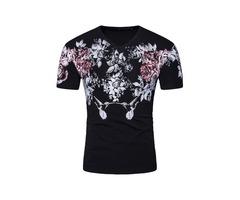 Tidebuy V-Neck Floral Print Slim Fit Mens T-Shirt