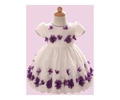 Sweet Contrast-Trim Flower Girls Dress