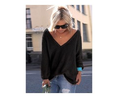 V-neck Loose Womens Sweater