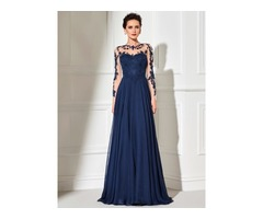 Hot Scoop A-Line Appliques Long Evening Dress