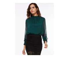 Chic Pleated Collar See-through Womens Blouse