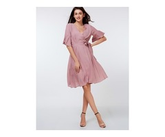 Flare Sleeve Falbala Lace-Up Womens Skater Dress