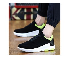 PU Lace-Up Round Toe Athletic Mens Sneakers