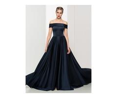 Timeless Off the Shoulder A-Line Long Evening Dress