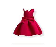 Sweet Bowknot Solid Color Bud Girls Dress