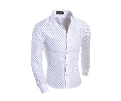 Tidebuy Polka Dots Mens Long Sleeve Casual Shirt