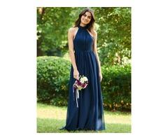 Halter Bowknot Long Backless Bridesmaid Dress