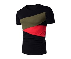 Round Neck Slim Patchwork Mens Fashion Tee