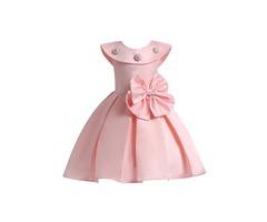 Ruffled Collar Pleated Bead Bowknot Girls Dress