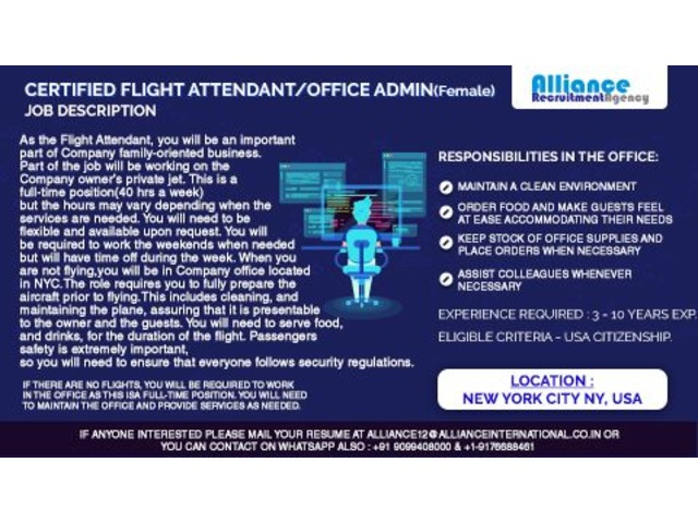Certified Flight Attendant/Office Admin  (Female) | free-classifieds-usa.com