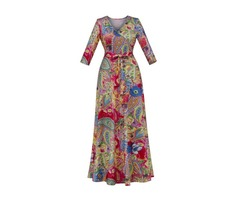 Floral Print Lace-Up Half Sleeve Womens Maxi Dress