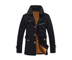 Lapel Single-Breasted Plain Slim Mens Winter Coat