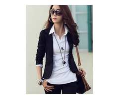 Notched Lapel Short Slim Fit Womens Blazer