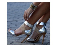 Color Block Open Toe Heel Sandals