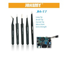 JAKEMY JM-T7-12 Stainless Steel DIY Electronic Short Pointed End Tweezer Forceps Maintenance Tools