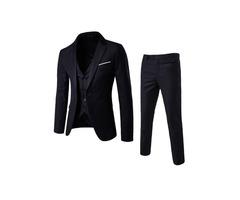 Tidebuy Plain Three-Piece of Casual Slim Mens Suit