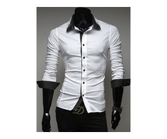Contrast Collar Single-Breasted Mens Casual Shirt