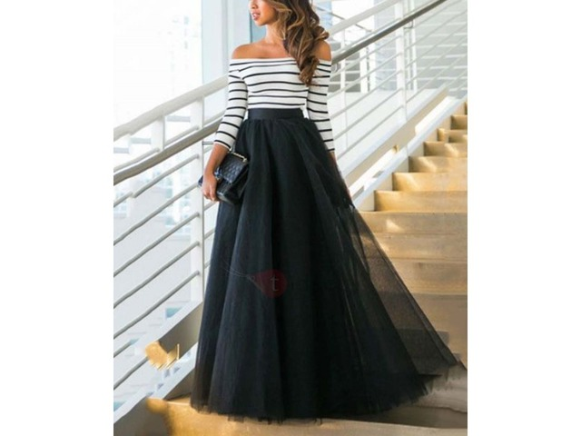 Boat Neck Half Sleeves Striped Patchwork Womens Maxi Dress | free-classifieds-usa.com
