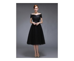 Off the Shoulder Lace Tea-Length Black Evening Dress