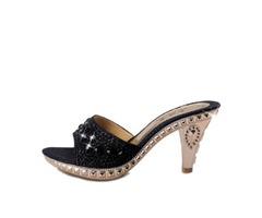 Rhinestone Awl Heel Slip-On Sandals