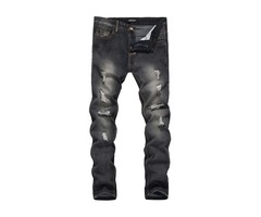 Mid-Waist Hole Slim Full Length Mens Denim Pencil Pants