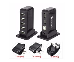 HOT 7 Port USB 2.0 Hi Speed Multi Hub Expansion With Power Adaptor