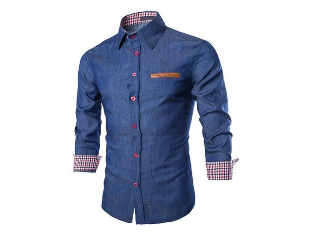 Color Block Chest Faux Pocket Mens Cotton Blend Shirt | free-classifieds-usa.com