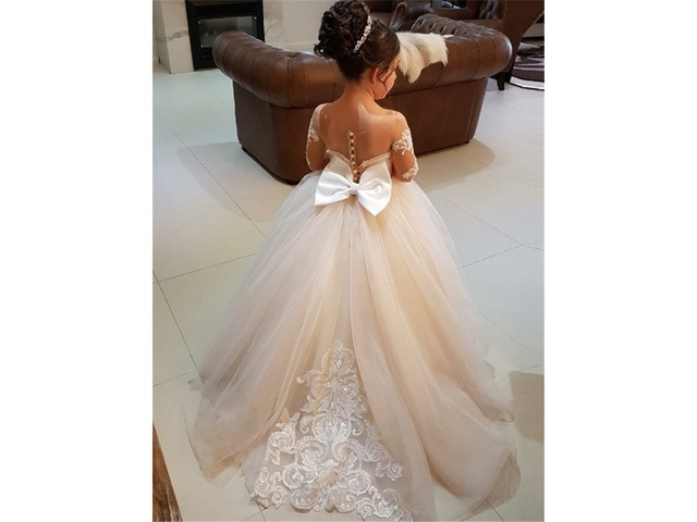 Fancy Sheer Neck Long Sleeves Appliques Flower Girl Dress | free-classifieds-usa.com