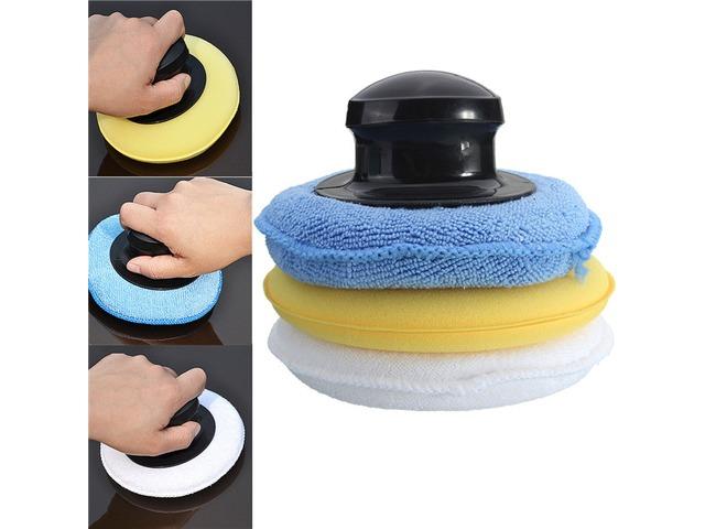Microfiber Foam Sponge Polish Wax Applicator Pad Set with Handle | free-classifieds-usa.com