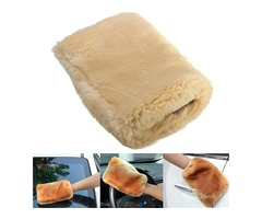24x16cm Motor Auto Home Clean Washing Glove Buffing Polishing Mitt Lambswool Wool