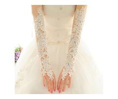 Beaded Lace Fingerless Long Wedding Gloves