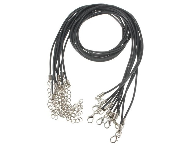 10pcs 2mm Black PU Rubber Lobster Clasp Waxen Rope Necklace Chain DIY | free-classifieds-usa.com