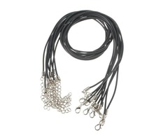 10pcs 2mm Black PU Rubber Lobster Clasp Waxen Rope Necklace Chain DIY