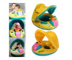 Adjustable Sunshade Baby Swim Inflatable Float Seat Boat Swimming Ring