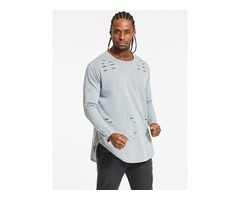 Tidebuy Loose Round Neck Plain Long Sleeve Mens T-Shirt