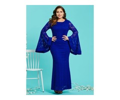 Flare Sleeve Mermaid Plus Size Womens Lace Maxi Dress