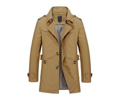 Solid Color Buttons Casual Mens Notched Collar Jacket