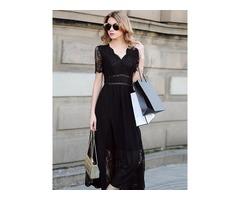 Short Sleeve Chiffon Lace V-neck Womens Maxi Dress