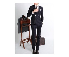 Tidebuy Notched Lapel Double-Breasted Black Mens Suit