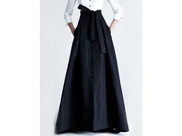 Black Buckle Bowknot Long Maxi Skirt | free-classifieds-usa.com