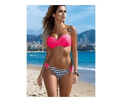 Hot Pleated Stripe Bikini Set