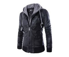 Tidebuy Double-Layer Hooded Zipper Mens Leather Jacket