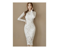 White Patchwork Long Sleeve Womens Lace Dress