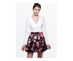 Floral Print Long Sleeve V-Neck Womens Skater Dress