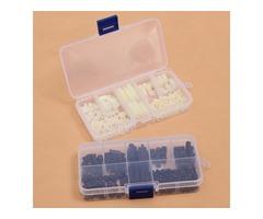 160pcs M3 Nylon Hex Spacer Screw Nut Assortment Kit Plastic Standoff Set