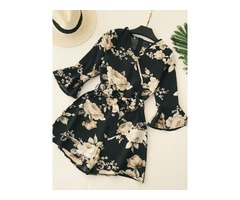 Floral Print Loose Flare Sleeve Womens Rompers
