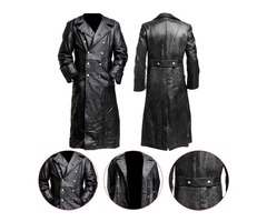 German Classic Officer Leather Coat