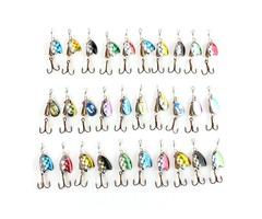 ZANLURE Fishing Lures Spinner Baits Assorted Trout Metal Tackle Hook-30pcs