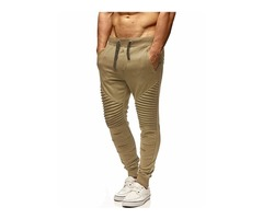 Tidebuy Plain Lace-Up Pleated Mens Sports Pants